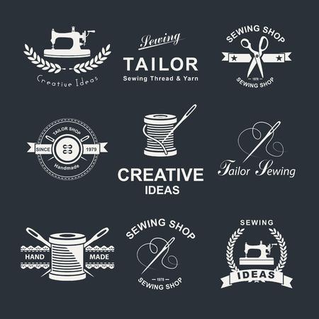 maquinas de coser: Conjunto de icono de sastre, emblemas y elementos de diseño. Vectores