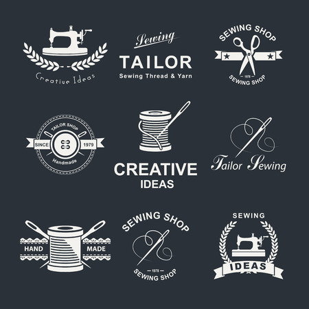 sewing buttons: Set of tailor icon, emblems and design elements.