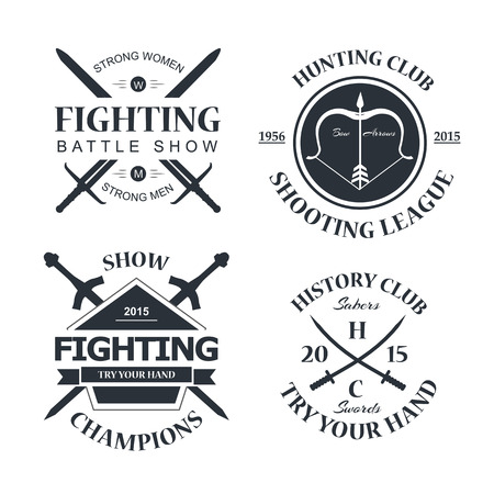 your logo: Battle show vector logo emblem. Fighting club. Try your hand