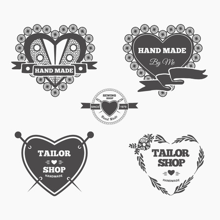 hand made: Vector set of stylish hand made . Illustration of vintage style sewing and tailor label. Illustration