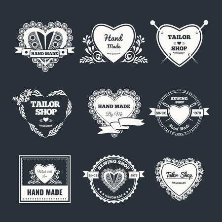 Vector set of stylish hand made . Illustration of vintage style sewing and tailor label.