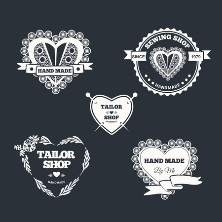 Vector set of stylish hand made logo. Illustration of vintage style sewing and tailor label. Illustration