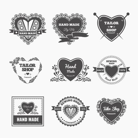 alteration shop: Vector set of stylish hand made . Illustration of vintage style sewing and tailor label. Illustration
