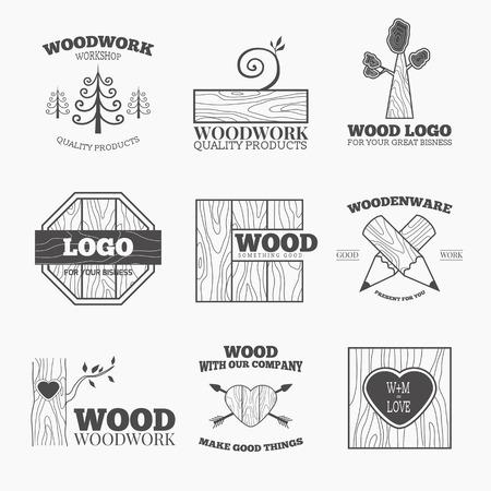 Houtbewerking badges en labels. Interessant ontwerp sjabloon voor uw bedrijf