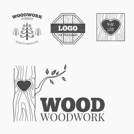joinery: Woodworking badges  and labels. Interesting design template for your company  Illustration