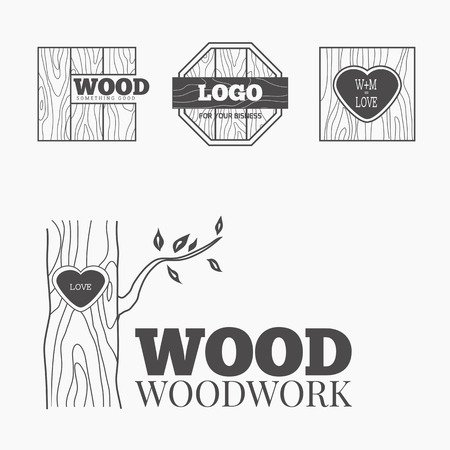 forestry: Woodworking badges logos and labels. Interesting design template for your company logo