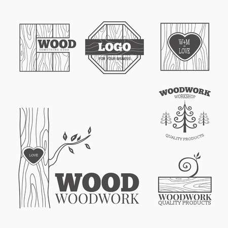 cutting boards: Woodworking badges logos and labels. Interesting design template for your company logo