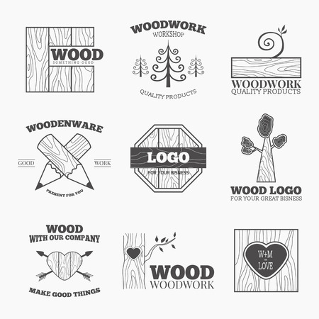 forest products: Woodworking badges logos and labels. Interesting design template for your company logo