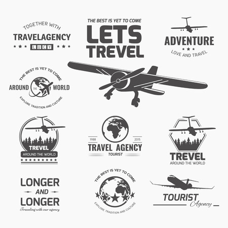 A set of vector logo design elements for travel agency. Plane, travel, vacation Vector