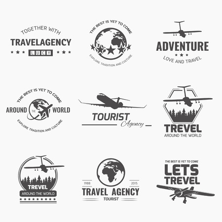commercial airplane: A set of vector design elements for travel agency. Plane, travel, vacation