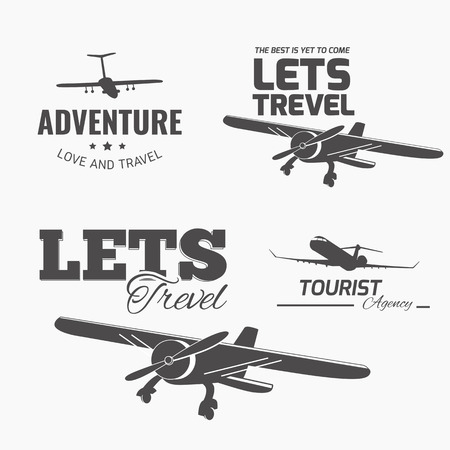 plane icon: A set of vector design elements for travel agency. Plane, travel, vacation