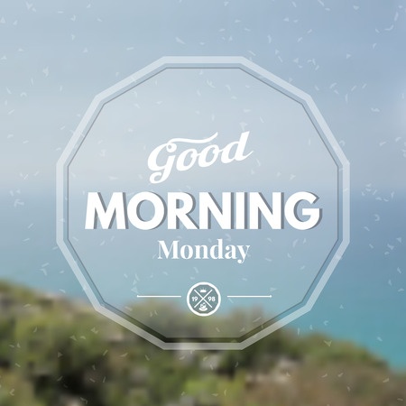 good mood: Text good morning on a blurred background. Illustration