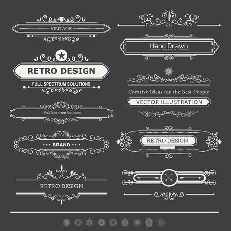 Vector elementos de diseño caligráfico y decoración de página. Flourishes caligráficos Adornos y Cuadros. Retro Style Design Collection para las invitaciones, banners, carteles, pancartas, insignias y logotipos.