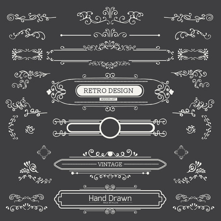 calligraphic design elements: Calligraphic vector design elements and page decoration.  Flourishes Calligraphic Ornaments and Frames. Retro Style Design Collection for Invitations, Banners, Posters, Placards, Badges and Logotypes.