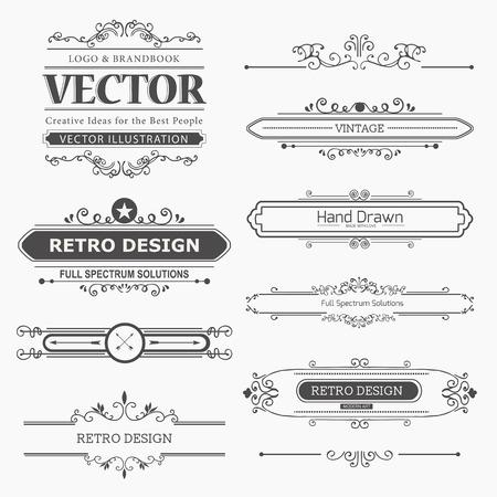 Kalligrafische vector design elementen en pagina decoratie. Bloeit Kalligrafische Ornamenten en Frames. Retro Style Design Collection voor Uitnodigingen, Banners, Posters, Placards, Badges en Logotypes. Stock Illustratie