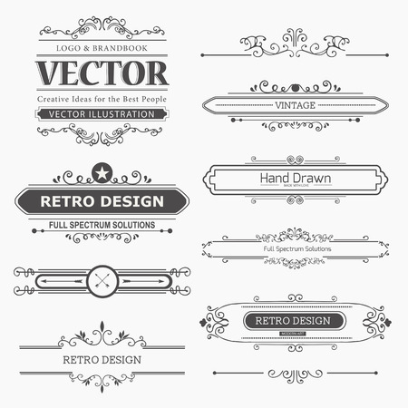 Calligraphic vector design elements and page decoration.  Flourishes Calligraphic Ornaments and Frames. Retro Style Design Collection for Invitations, Banners, Posters, Placards, Badges and Logotypes.