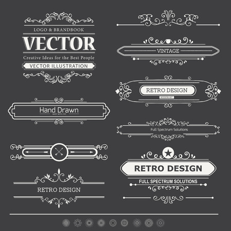 vintage stamp: Calligraphic vector design elements and page decoration.  Flourishes Calligraphic Ornaments and Frames. Retro Style Design Collection for Invitations, Banners, Posters, Placards, Badges and Logotypes.
