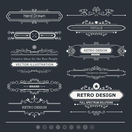 붓글씨 벡터 디자인 요소와 페이지 장식. 붓글씨 장식품 및 프레임을 번성. 초대장, 현수막, 포스터, 플래 카드, 배지 및 로고 타입에 대한 레트로 스타