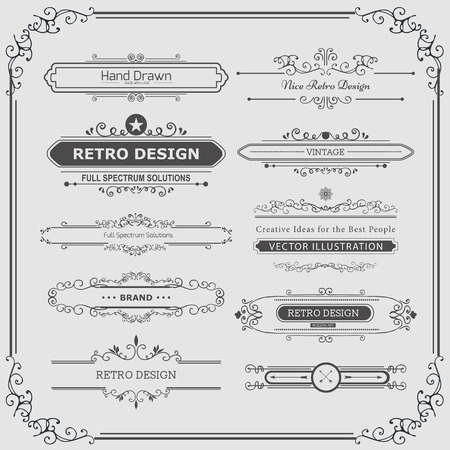 certificate border: Calligraphic vector design elements and page decoration. Flourishes Calligraphic Ornaments and Frames. Retro Style Design Collection for Invitations, Banners, Posters, Placards, Badges and Logotypes.