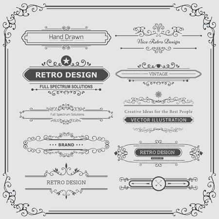 Kalligrafische Vektor-Design-Elemente und Seite Dekoration. Gedeiht Calligraphic Ornaments und Frames. Retro Style Design Collection für Einladungen, Banner, Poster, Plakate, Namensschilder und Firmenzeichen. Standard-Bild - 40965488
