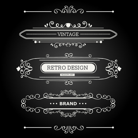 logotypes: Calligraphic vector design elements and page decoration. Flourishes Calligraphic Ornaments and Frames. Retro Style Design Collection for Invitations, Banners, Posters, Placards, Badges and Logotypes.