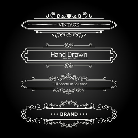 decoration design: Calligraphic vector design elements and page decoration. Flourishes Calligraphic Ornaments and Frames. Retro Style Design Collection for Invitations, Banners, Posters, Placards, Badges and Logotypes.