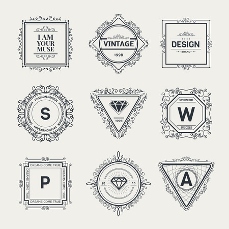 Monogram  luxury logo template with flourishes calligraphic elegant ornament elements. Luxury elegant design for cafe, restaurant, boutique, hotel, shop, store, heraldic, jewelry, fashion