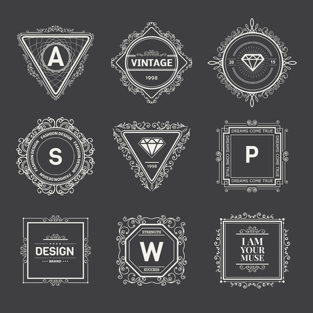 Monogram  luxury logo template with flourishes calligraphic elegant ornament elements. Luxury elegant design for cafe, restaurant, boutique, hotel, shop, store, heraldic, jewelry, fashion