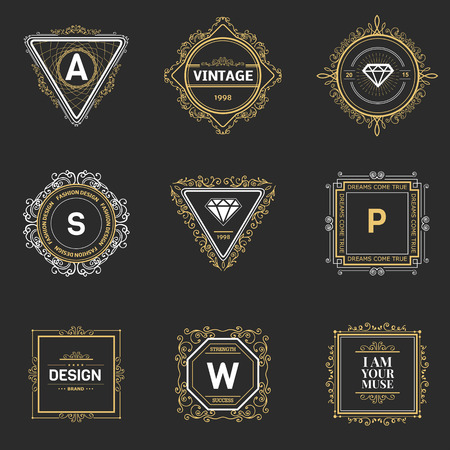 retro backgrounds: Monogram  luxury logo template with flourishes calligraphic elegant ornament elements. Luxury elegant design for cafe, restaurant, boutique, hotel, shop, store, heraldic, jewelry, fashion