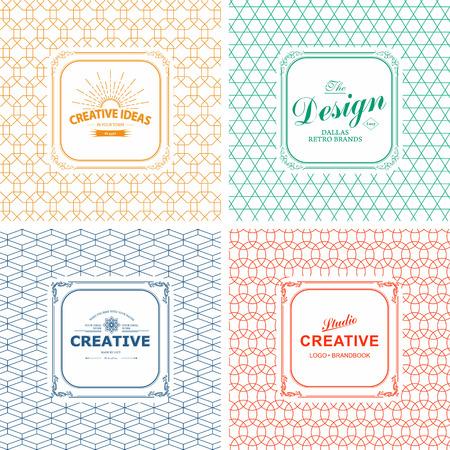 Vector set van de lijn grafische design templates. Logo, etiket, kenteken op decoratieve achtergronden met eenvoudige patronen