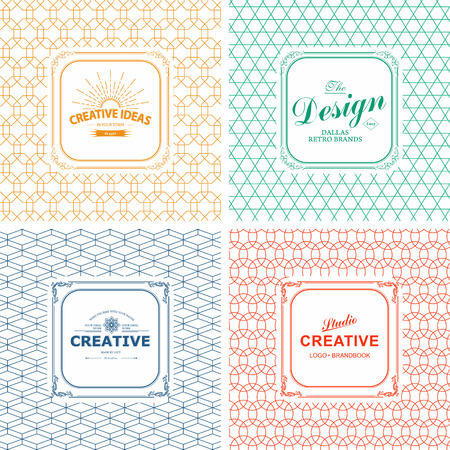 Vector set of line graphic design templates.  Logo, label, badge, emblem on decorative backgrounds with simple patterns
