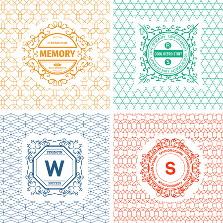 graphic backgrounds: Vector set of line graphic design templates.  , label, badge, emblem on decorative backgrounds with simple patterns