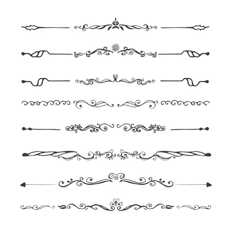 Vintage dividers  and ornaments, calligraphic design elements and page decoration. Vectores