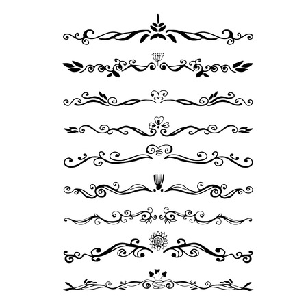 floral ornaments: Vintage dividers  and ornaments, calligraphic design elements and page decoration. Illustration