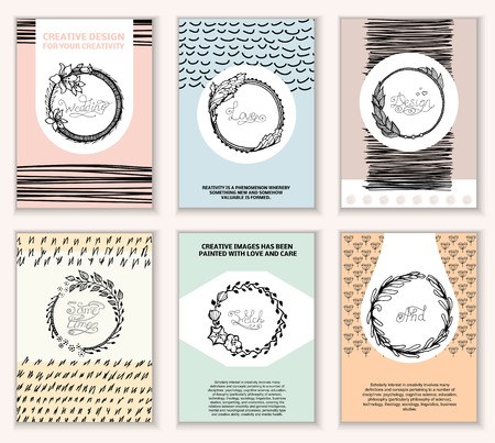 hand card: Set of Vintage Creative Cards with Hand Drawn Hipster Textures. Retro patterns for banner, poster, placard, flyer, design template