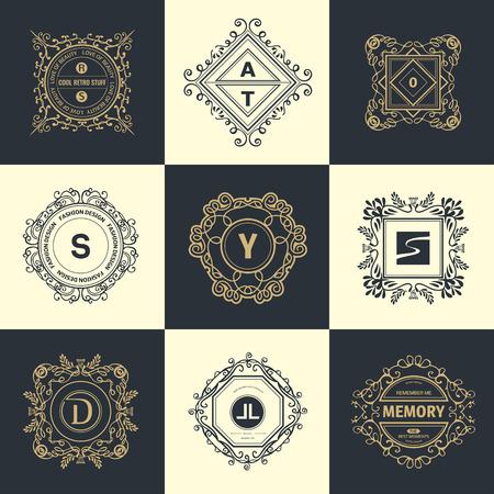 luxury: Monogram  luxury template with flourishes calligraphic elegant ornament elements. Illustration