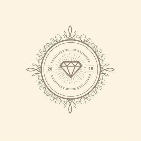 Monogram luxe sjabloon met bloeit kalligrafische elegant ornament elementen. Luxe elegant ontwerp voor cafe, restaurant, boutique, hotel, winkel, opslag, heraldisch, sieraden, mode Stock Illustratie
