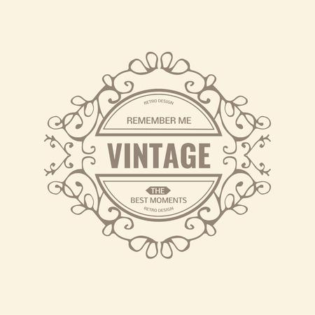 Monogram  luxury   template with flourishes calligraphic elegant ornament elements. Luxury elegant design for cafe, restaurant, boutique, hotel, shop, store, heraldic, jewelry, fashion Illusztráció