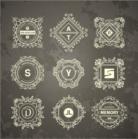 luxury hotel: Monogram  luxury   template with flourishes calligraphic elegant ornament elements. Luxury elegant design for cafe, restaurant, boutique, hotel, shop, store, heraldic, jewelry, fashion Illustration