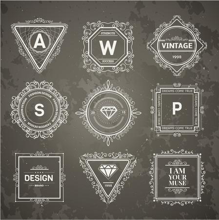 boutique hotel: Plantilla de lujo del monograma con florituras elementos caligráficos elegantes ornamento. Elegante diseño de lujo para el café, restaurante, hotel boutique, tienda, heráldica, joyas, moda