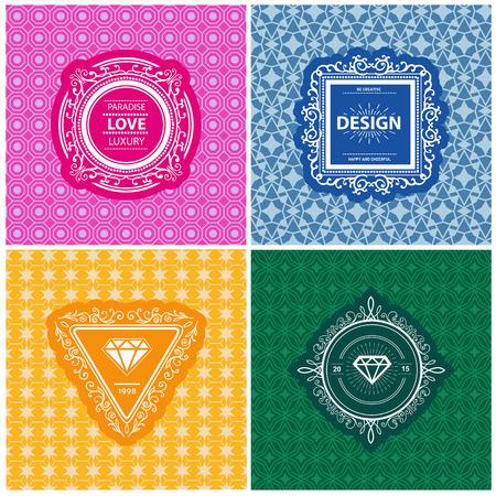 boutique hotel: Plantilla de lujo del monograma con flourishes caligr�ficos ornamento elegante fondo. Elegante dise�o de lujo para el caf�, restaurante, hotel boutique, tienda, her�ldica, joyas, moda