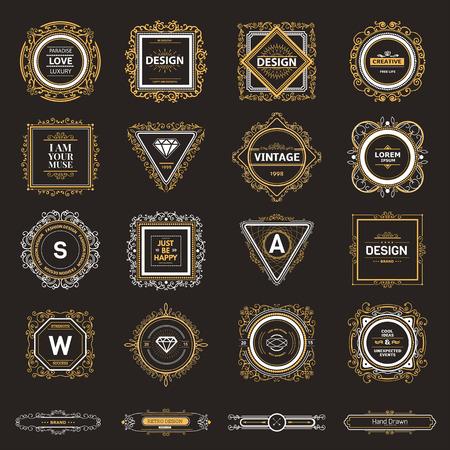 insignias: Plantilla de lujo del monograma con florituras elementos caligr�ficos elegantes ornamento. Elegante dise�o de lujo para el caf�, restaurante, bar, boutique, hotel, tienda, her�ldica, joyas, moda Vectores
