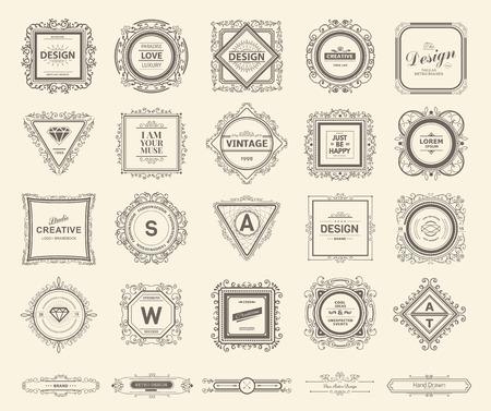 etiqueta: Plantilla de lujo del monograma con florituras elementos caligráficos elegantes ornamento. Elegante diseño de lujo para el café, restaurante, bar, boutique, hotel, tienda, heráldica, joyas, moda Vectores