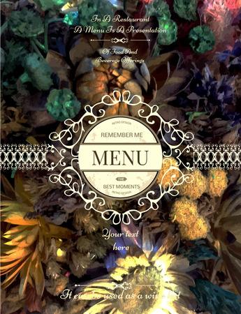 vintage floral: Vintage floral card with ornaments. Retro frame for restaurant, certificate, Invitation, Book,  flyer or boutique Identity design. Illustration