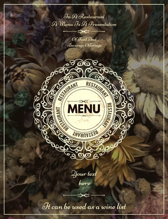 etiqueta: Vintage floral card with ornaments. Retro frame for restaurant, certificate, Invitation, Book,  flyer or boutique Identity design. Vectores