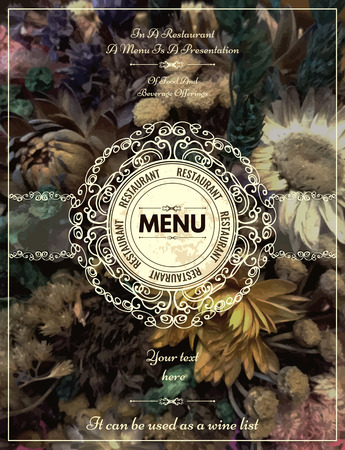 Vintage floral card with ornaments. Retro frame for restaurant, certificate, Invitation, Book,  flyer or boutique Identity design.  イラスト・ベクター素材