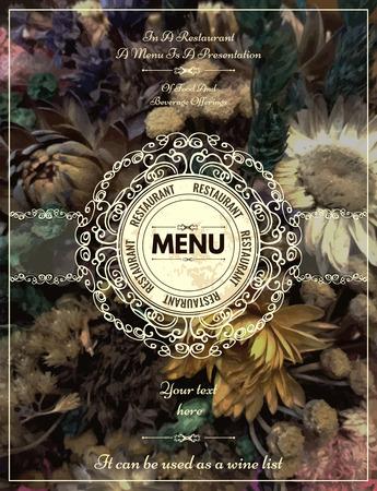 Vintage floral kaart met ornamenten. Retro frame voor restaurant, certificaat, uitnodiging, boek, flyer of boutique Identity design. Stock Illustratie