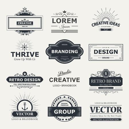 insignias: Etiquetas Vintage Retro establecido. diseño rótulos de elementos, de marca, insignias, objetos, de identidad, etiquetas.