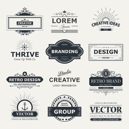 genuine: Retro Vintage labels  set. design elements business signs, branding, badges, objects, identity, labels. Illustration
