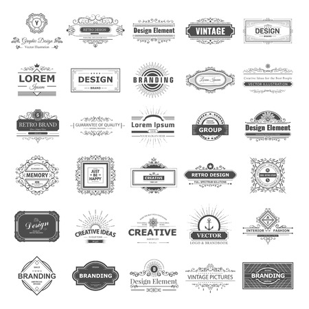 tipos: etiqueta de la vendimia Retro establecido. diseño signos elementos de negocio, marcado en caliente, chapas, objetos, de identidad, etiquetas. Vectores